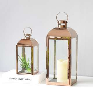 RENTAL - ROSE GOLD CHROME LAMPS (2 SIZES IN A SET)