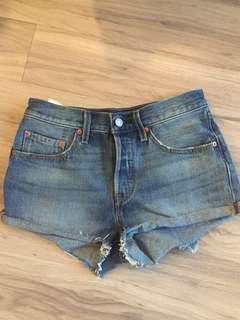 Levi's mid rise jean shorts