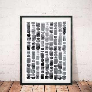 Minimalistic Black Watercolour Strokes Northen Wall Frame