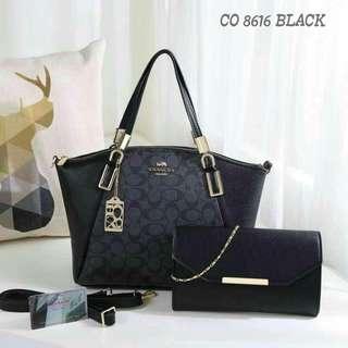 Coach Tote Bag 2 in 1 Black Color