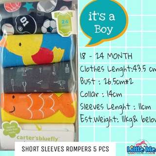5PCS ROMPERS CARTER SHORT SLEEVES BOY