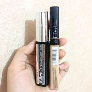 Bundle! Maybelline Fit Me Concealer + Brow Precise Fiber Volumizer