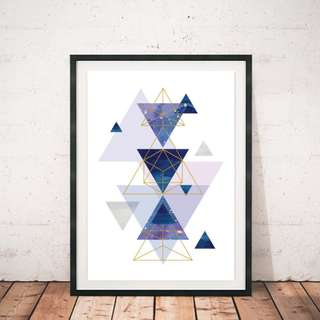 Galaxy Wall Frame Geometric Watercolour Design Stars Art
