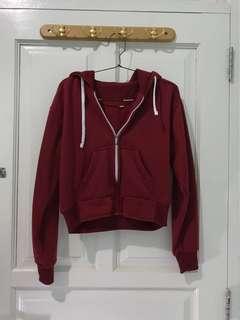 Maroon zipper crop hoodie