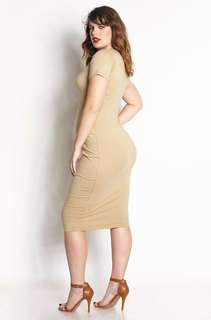 Nude Bodycon Midi Dress XS