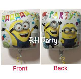 (13/6) Include Helium despicable me minion foil balloon (party time - 2 sided dual design)
