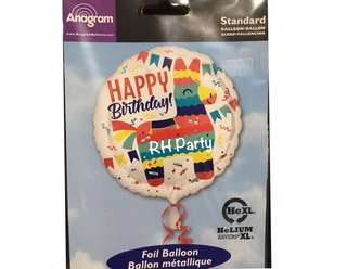 (12/6) Include helium Happy Birthday Colourful Pinata foil balloon with Party flag