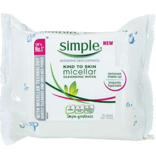 SIMPLE Micellar Cleansing Wipes 25's - PO Singapore