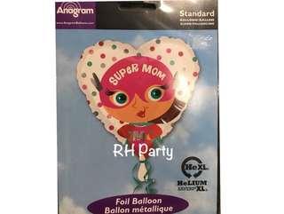 (12/6) Include Helium Happy Birthday Super Mommy Heart Foil Balloon (Superwoman Mom)