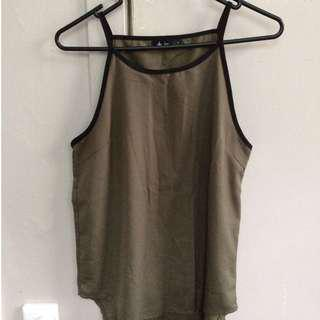 Green halter tank top