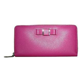 Coach  Coach Bow Leather Accordion Zip Around Wallet Fuchsia Pink F52632