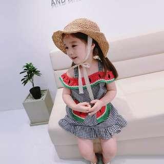 🚚 韓版 春季新款 女童清涼格紋西瓜造型洋裝