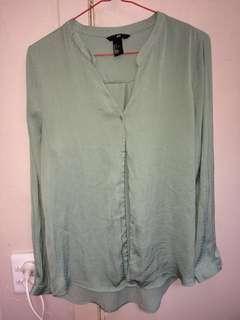 H&M silk blouse - sage green