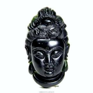 珍珠林~慈悲觀自在觀音玉墬~A貨天然墨玉~新品到 #240