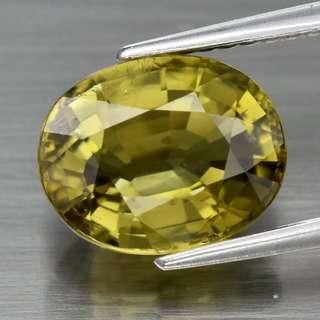 2.96ct Oval Natural Yellowish Green Tourmaline