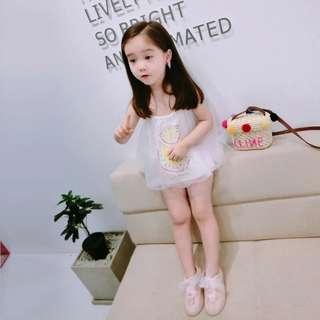 🚚 韓版 春夏新款 女童細肩帶網紗西瓜造型上衣