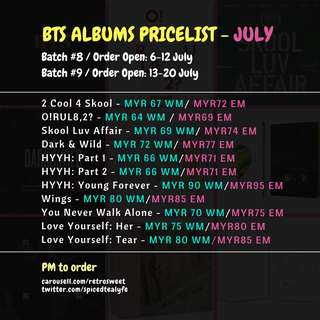🇲🇾[MY GO] BTS SEALED ALBUMS GROUP ORDER - JULY PRICELIST