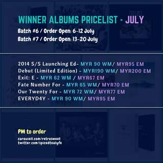 🇲🇾[MY GO] WINNER SEALED ALBUMS PRICELIST - JULY