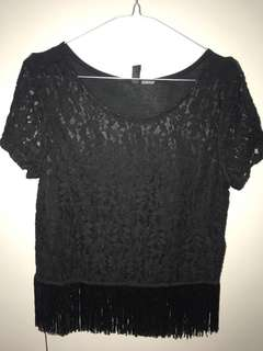 H&M LACE BOHO TOP WITH FRINGE BOTTOM