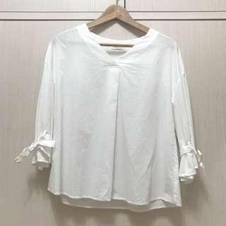 🚚 earth music& ecology 純白造型袖襯衫