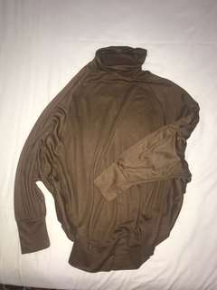 Brown loose blouse - turtle neck