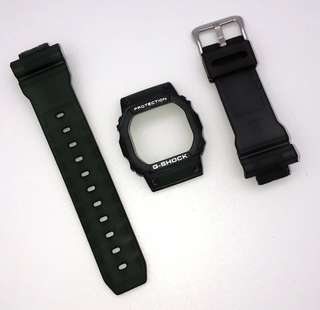 現貨 Casio G-shock Dw-5600 代用 墨綠色 錶帶 錶殼 (非原廠)(strap only)