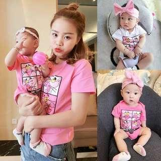 🚚 春夏新款 韓版一家四口粉紅豹短T/短袖上衣/親子裝/母女裝/情侶裝