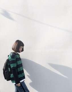 🚚 韓版條紋上衣(短袖喔 裡面黑色是額外搭配)