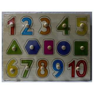 Wooden Peg Puzzle - Numbers 1 - 10 with shapes