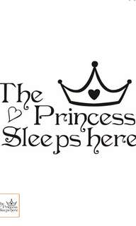 The Princess Sleeps Here Style Removable Life Waterproof Home Wall Window Girls Room Sticker Decoration Decals Pvc Stickers 35x22cm