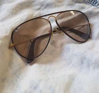 Brown leather trimmed ray bans