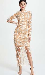 Keepsake the Label Nude Mesh White Floral Lace Embroidered Evening Dress Gown