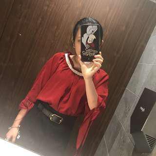 雪紡紅色衣