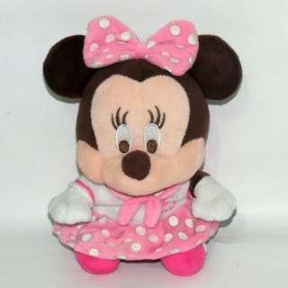 早期收藏品 米妮娃娃 坐姿 粉紅裙 高度約23cm 玩偶 米妮造型娃娃