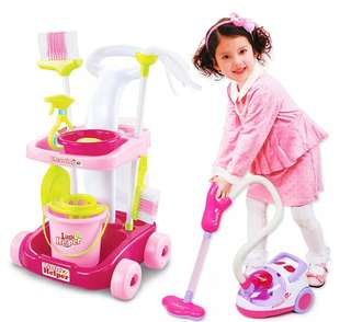 🚚 BN Little Helper Cleaning Housekeeping Tools + Vacuum Cleaner Toy Set (Pink/Green)
