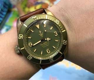 93%NEW 瑞士HEROIC 18 DL1001 全球限量128隻 復古銅錶 全自動ETA機芯 大裝 FULL SET $3780