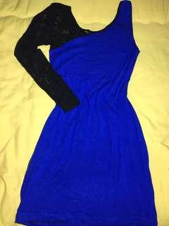 Blue laced one shoulder dress