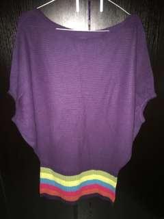 Batwing Rajut Purple Rainbow