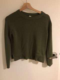 H&m khaki green crop knitwear jumper