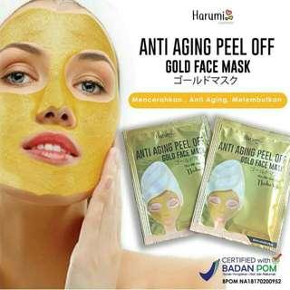 Masker gold Harumi BPOM / masker pencerah wajah / facemask / masker komedo / mudmask / masker lumpur / masker muka