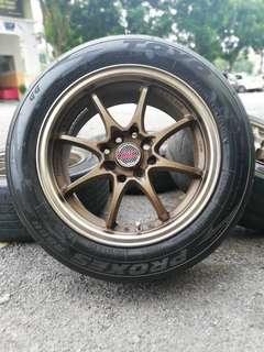 Ce28 15 inch sports rim myvi tyre 70%. *juai juai murah*