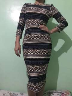 Aztec lowback dress
