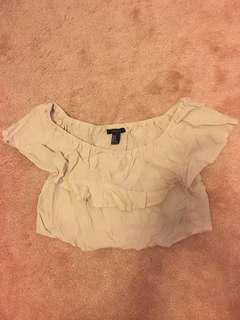 F21 off the shoulder crop top