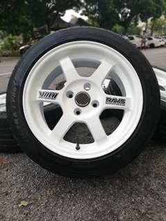 Te37 15 inch sports rim saga flx tyre 70%. *kuat kuat offer*