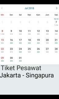 Tiket Pesawat Jakarta - Singapura