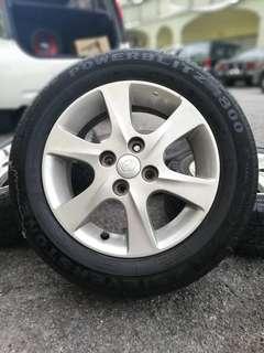 Original 14 inch sports rim myvi tyre 70%. *kasi mora mora*