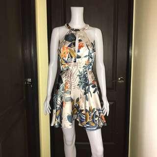 Halter floral silk dress
