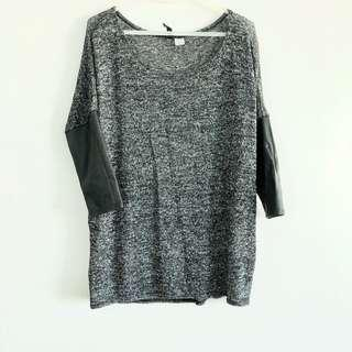 H&M Sweater with Leather Sleeves