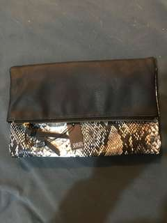 David Jones Snake Skin Fold Over Clutch With Magnet