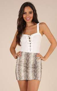 Showpo PU Leather Snake Print Festival Skirt Bodycon Brand New